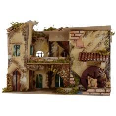 Borgo con mulino cm 33x17,5x23 h Mondo Presepi