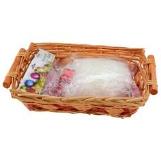 Rectangular basket in vimini cm 36x28x10 h. with kit per pack