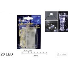 20 Micro Led luce bianca fredda a batterie Mondo Presepi