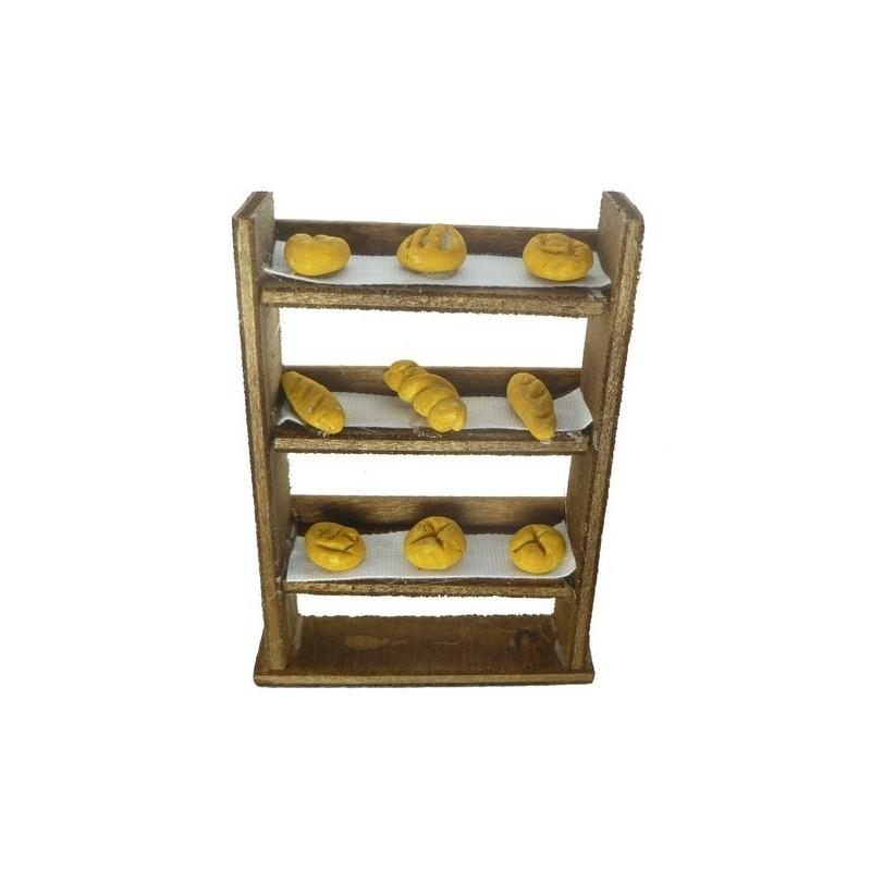 Mondo Presepi Scaffale in legno con pane -Bancarelle per presepe