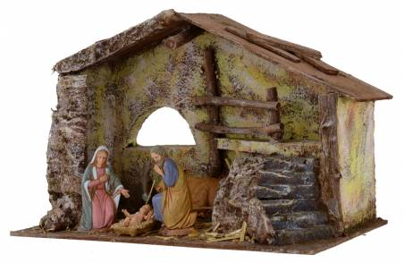 Nativity Landi 10 cm complete cabin with staircase and