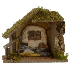 Capanna con finestra e pecorella cm 24x13x20,5 h per Natività