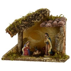 Complete Capanna of Nativity in resin 9 cm with coppi in