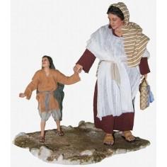 Mondo Presepi Donna con figlio cm 30 -STV30/19 - Spedizione