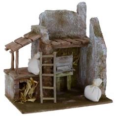 Barn for nativity scene with wooden pergola 19.5x14.5x20.5 cm