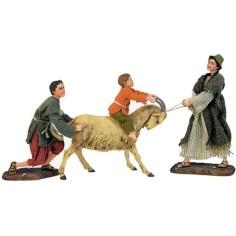 Mondo Presepi Bambini con capra -STV30/38 - Spedizione gratuita