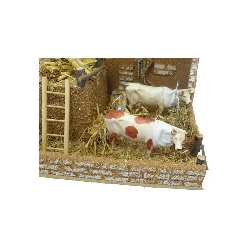 Mondo Presepi Stalla con 2 mucche in movimento - MA33