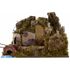 Borgo illuminato con mulino funzionante cm 51x28x35 h Mondo