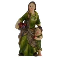 Donna con bambino in resina serie 9 cm