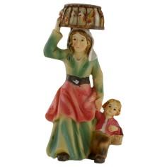 Donna con bambino e gabbia sul capo serie 8 cm in resina
