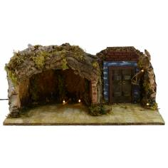 Grotto with illuminated door cm 49x25x20 h for Nativity 10-12 cm