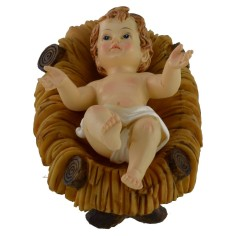 Baby Jesus 7x10 cm in resin with cradle