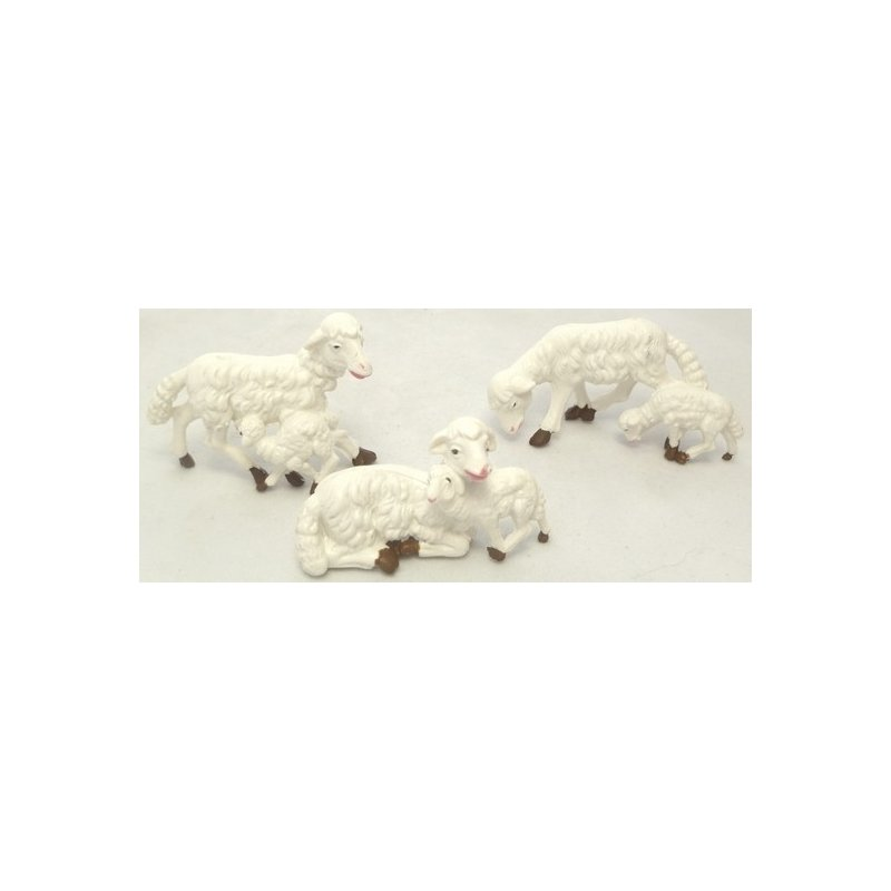 Set of 3 sheep with lamb for figures 8-10 cm -PG02