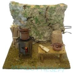 Braciere castagnaro con fuoco e Fumo - alimentatore incluso