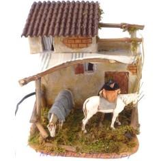 Mondo Presepi Casa con sellaio e cavallo Landi in movimento