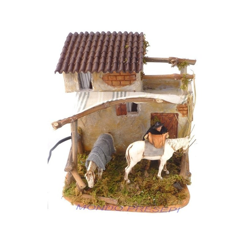 House with saddler and Landi horse in motion