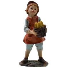 Bambino con cesto serie 9 cm in resina Mondo Presepi