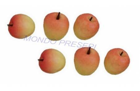 Set of 6 yellow-red apples