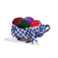 Basket with balls of yarn