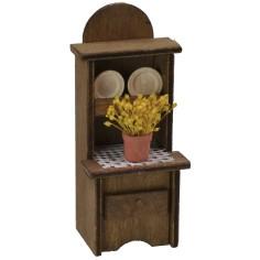 Credenza in legno con vaso di fiori e piatti cm 5,5x4,5x13 h.