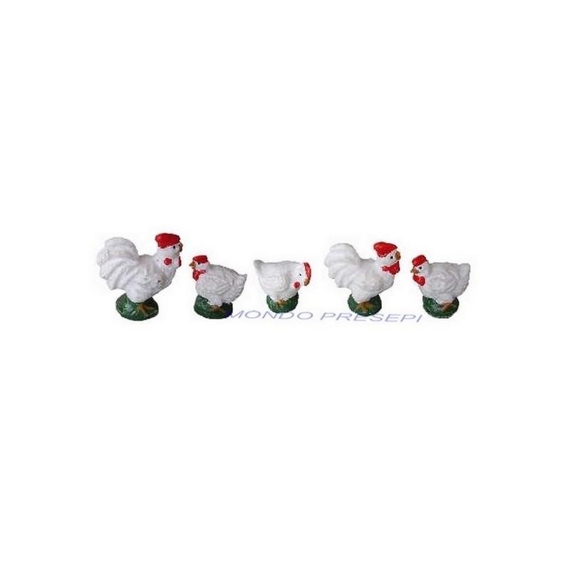 Set 6 galline in resina cm 2-3 - 73431