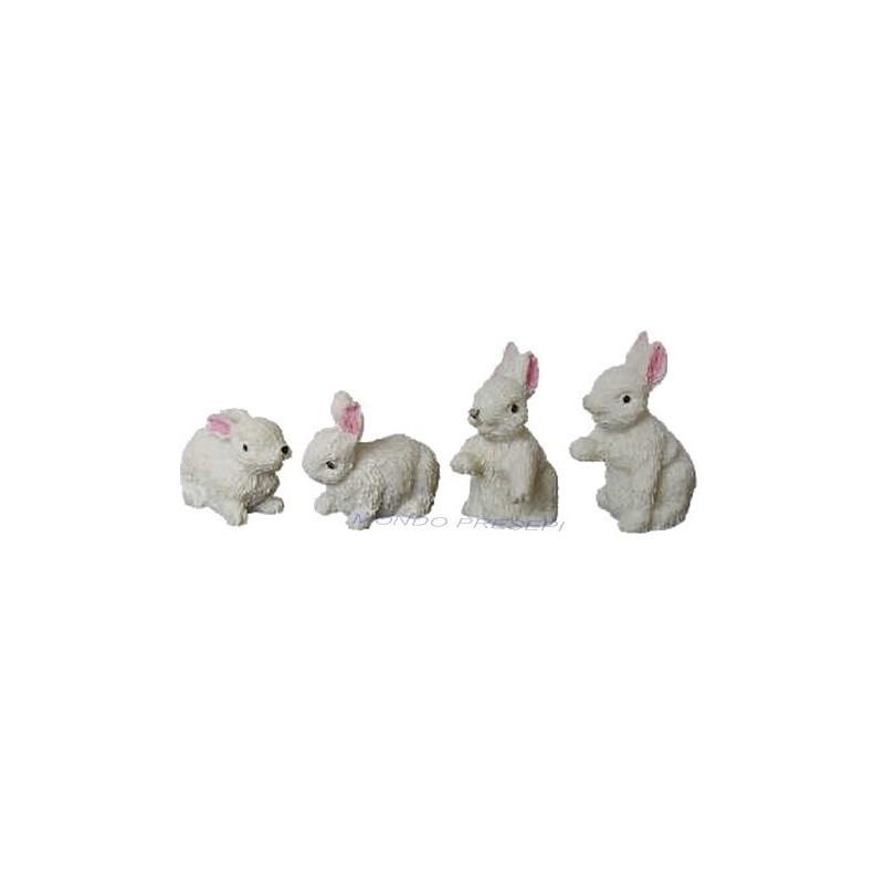 Mondo Presepi Set 4 conigli in resina cm 2 - 69452