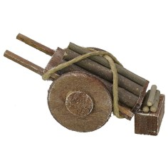 Carretto con legna accatastata per Presepe cm 5x14x6 h Mondo