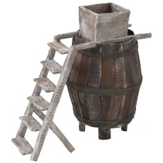 Barrel with ladder and millstone for grapes cm 11.5Øx18 h