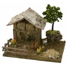 Barn with chicken coop and hens with chicks cm 19x15x16 h