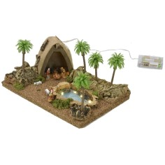 Illuminated Arab tent complete with Landi statues with pond and