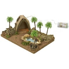 Illuminated Arab tent with pond and palm trees cm 26.5x18x12.5