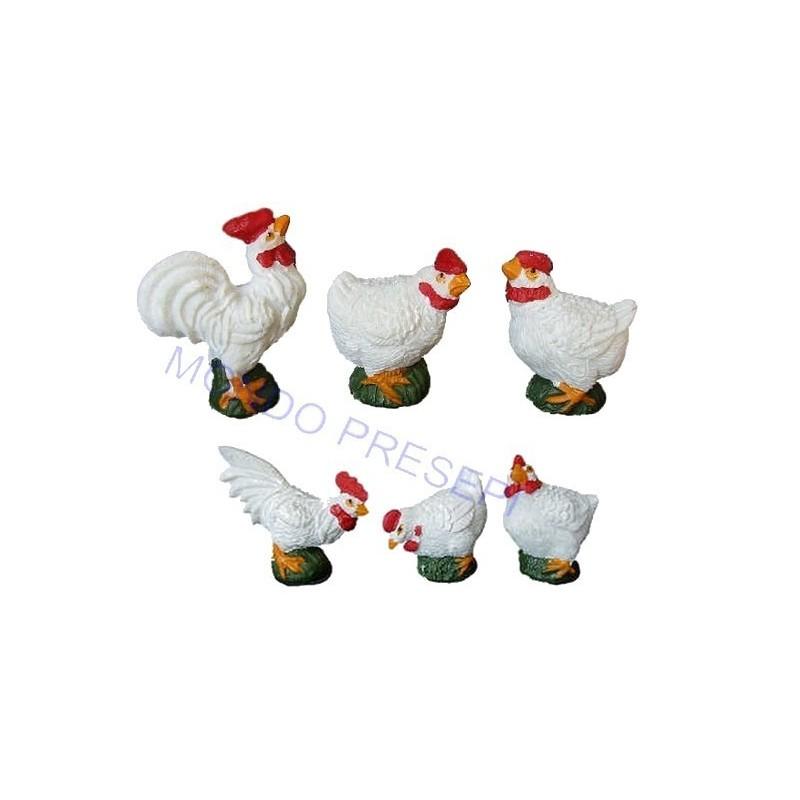 Mondo Presepi Set 6 galline in resina cm 3-4