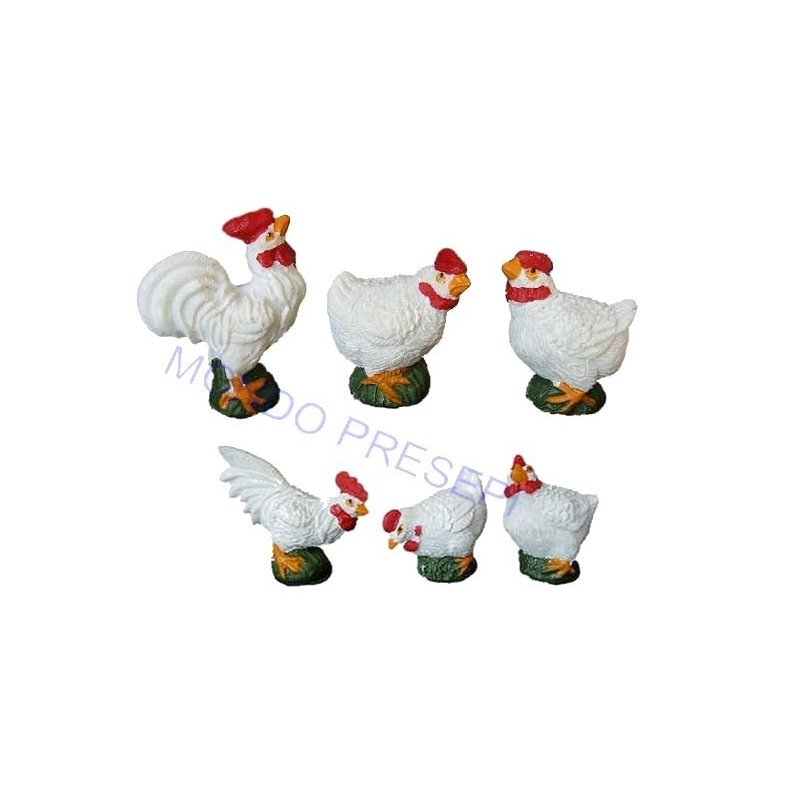 Set of 6 hens in resin 3 cm