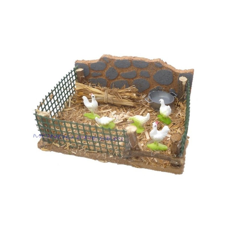 Chicken coop with hens - AG34