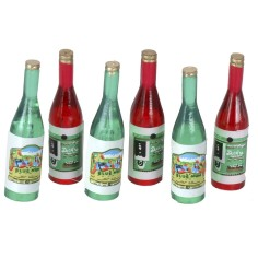 Set of 6 red and green bottles cm 3,6 h