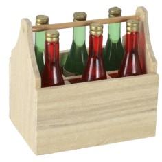 Cassetta in legno con bottiglie cm 4x2,8x3,9 h Mondo Presepi