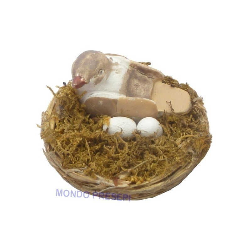 Nest with bird and eggs - assorted colors - NU21