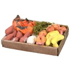 Cassetta in legno con frutta e verdura cm 5,7x4,2x0,9 h Mondo