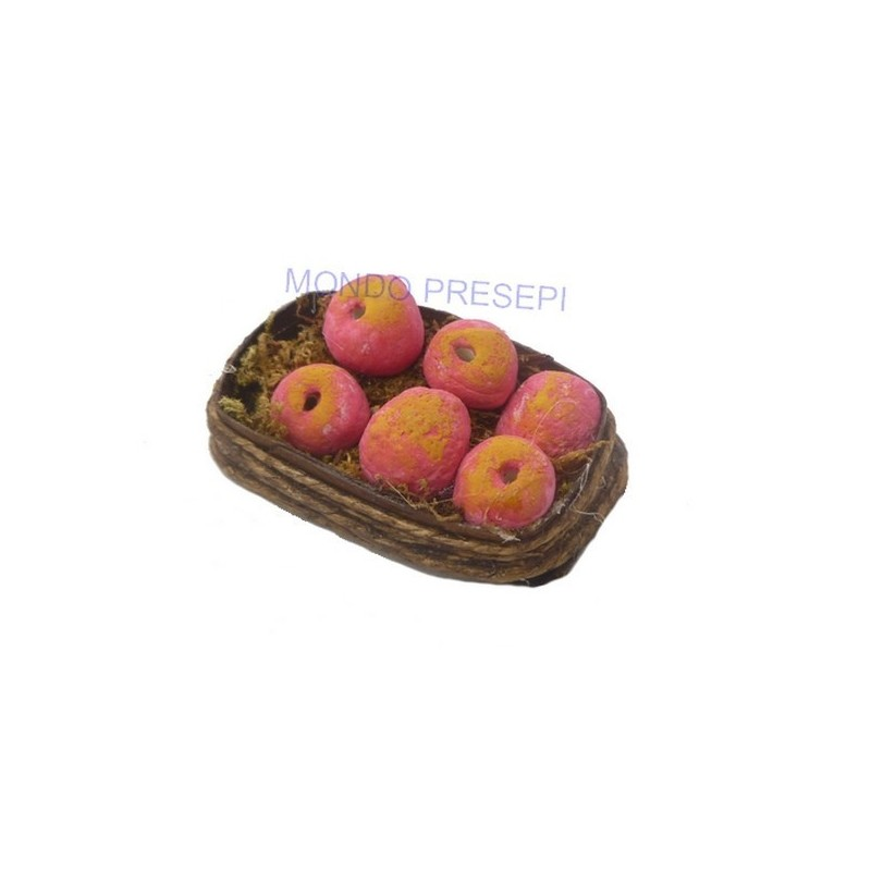 Mondo Presepi Cesto con mele rosse - D405