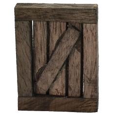 Dark wood window with opening door cm 3.4x0.7x4.5 h