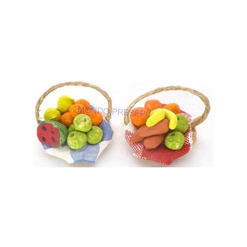 Mondo Presepi Cesto ø cm 3 con frutta mista
