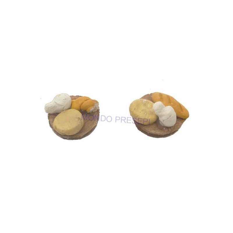 Mondo Presepi Set 2 taglieri con pane e formaggio - D410