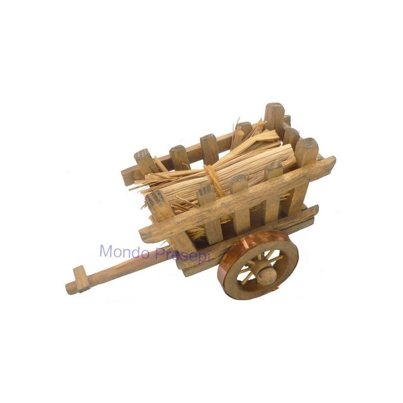 Wooden wagon with straw bundle