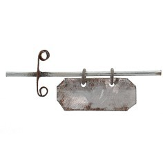 6.2 sign with 3x1.3 cm plaque in aged metal