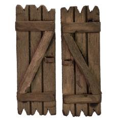 2 wooden shutter doors set cm 4,8x6,8 h. per window