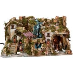 Illuminated nativity scene complete with Landi statues with