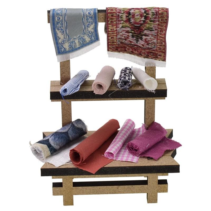 Market stall with fabrics cm 10.5x5.5x15 h for Nativity scene