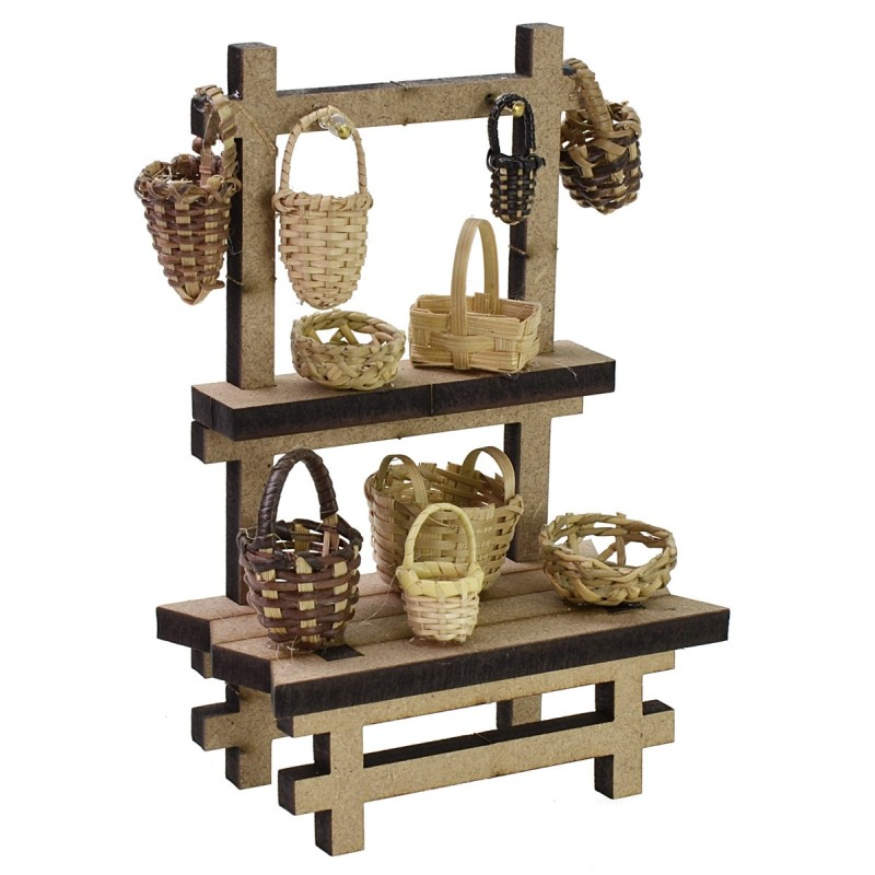 Market stall with baskets cm 10,5x5,5x15 h for Nativity scene