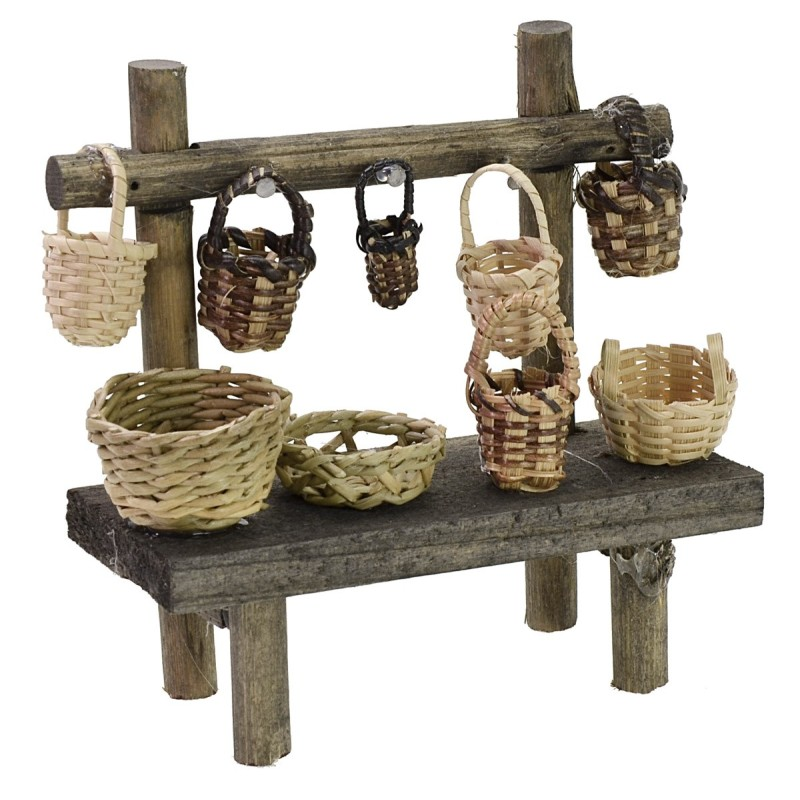 Market stall with baskets cm 12x4,5x12 h for Nativity scene