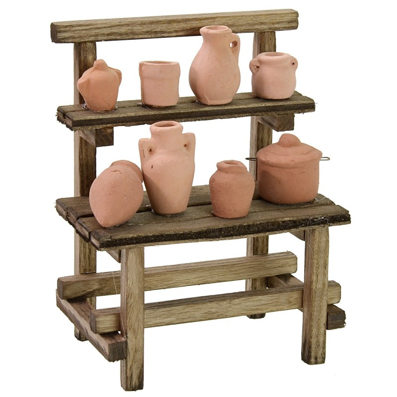 Market stall with amphorae cm 11x7x14 h for Nativity scene